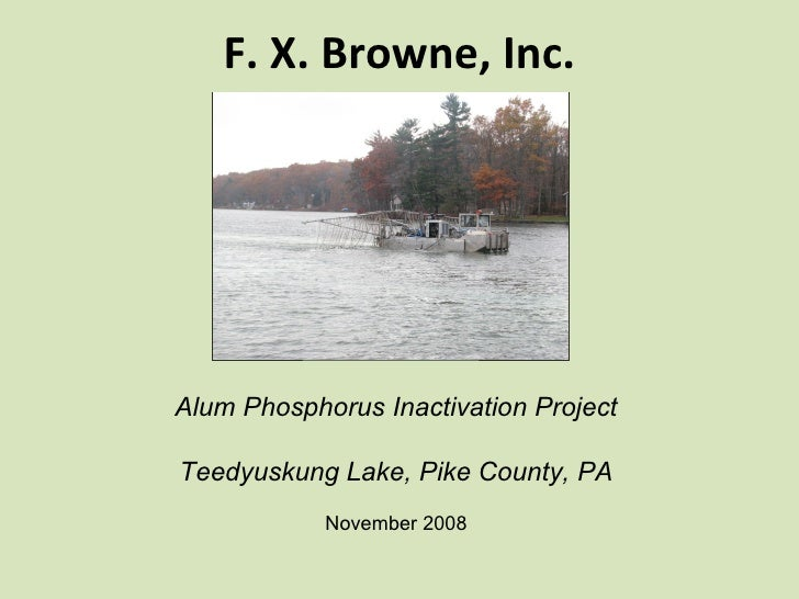 F. X. Browne, Inc. Alum Phosphorus Inactivation Project Teedyuskung Lake, Pike County, PA November 2008