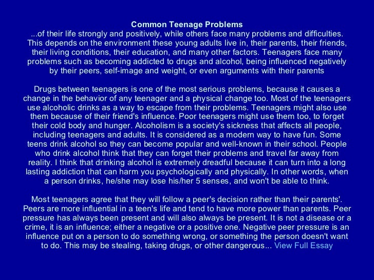 essay on problems faced by teenagers