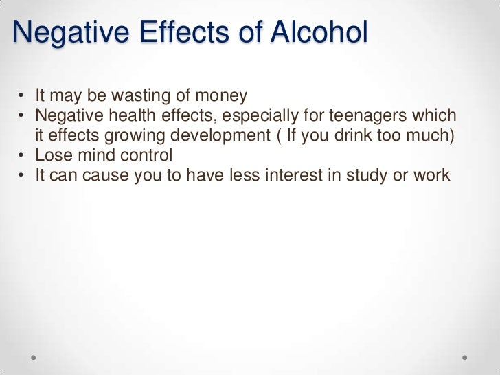 essay effects of alcohol Serious alcohol use among youth has significant neurological effects of protracted alcohol use the alcohol cost calculator for kids about alcohol.