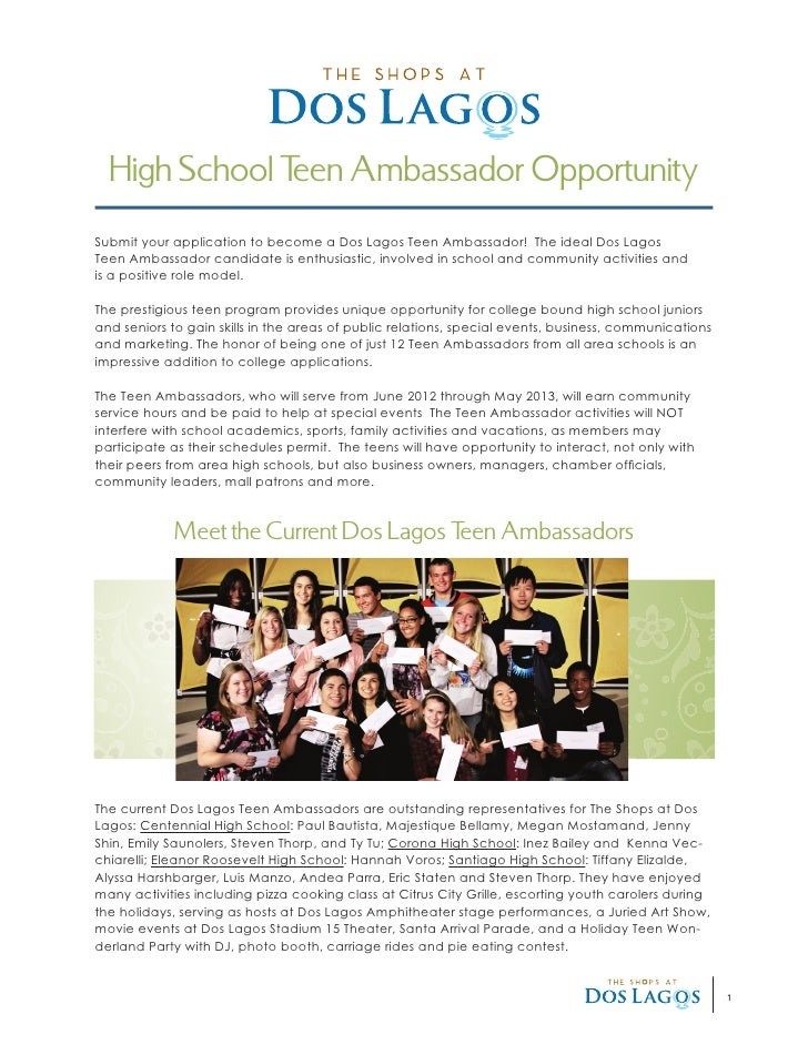 High School T Ambassador Opportunity               eenSubmit your application to become a Dos Lagos Teen Ambassador! The i...