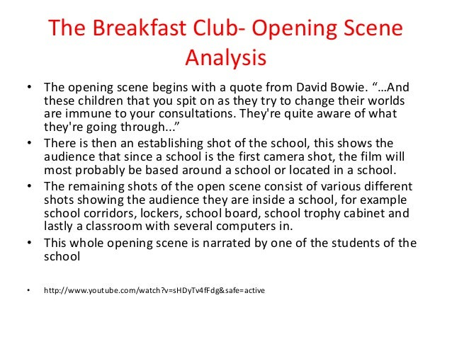 breakfast club character analysis essay The breakfast club, a film directed by john hughes, describes the events that happen during a group of five teenagers saturday detention each character.