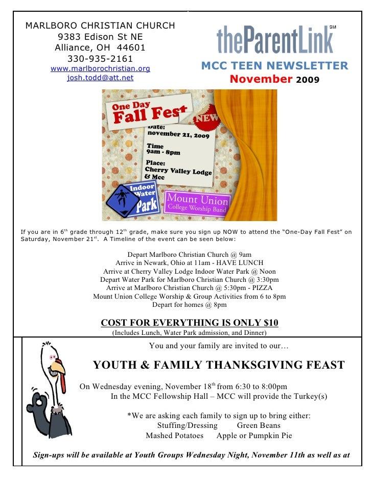Teen Newsletter (November 2009)