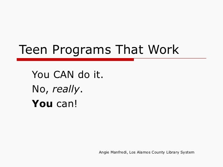 Teen Library Programs, Yes You Can