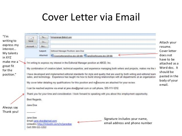 cover email for resumes