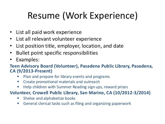 resume workshop pasadena library