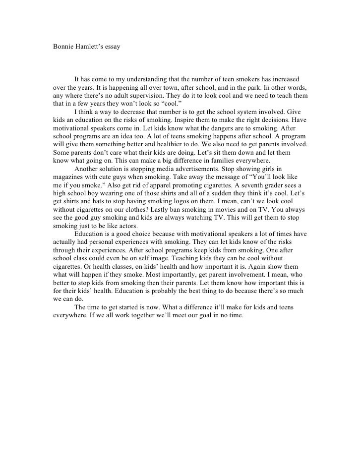 Essay about teenagers smoking