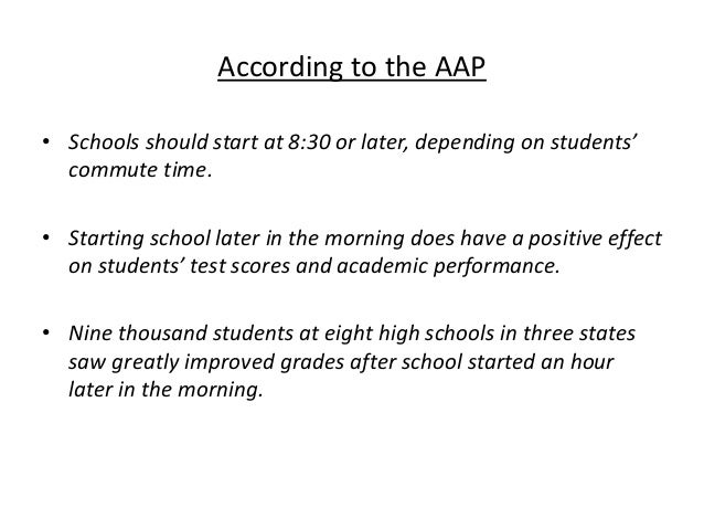 should schools start later in the morning Teenagers aren't just lazy their sleep hormones aren't calibrated to let them get up and go until later in the morning – which has academic and health consequences when school starts too early.