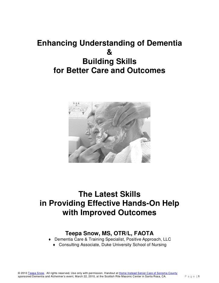 Enhancing Understanding of Dementia                                &                         Building Skills              ...