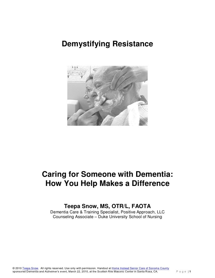 Teepa Snow Dementia Demystifing Resistance Handout