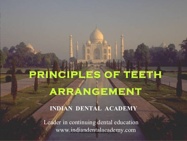 PRINCIPLES OF TEETH ARRANGEMENT INDIAN DENTAL ACADEMY Leader in continuing dental education www.indiandentalacademy.comwww...