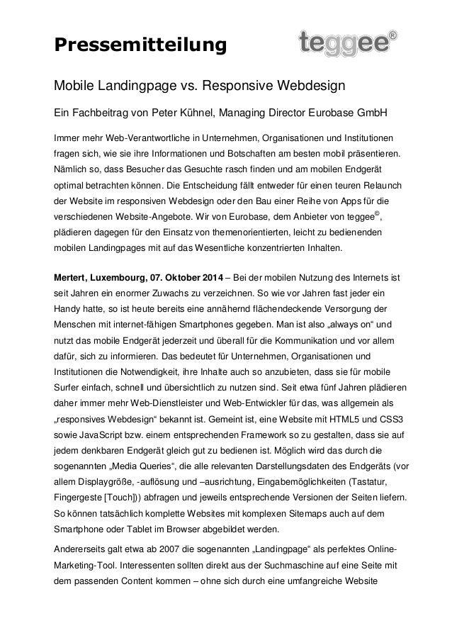 Pressemitteilung  Mobile Landingpage vs. Responsive Webdesign  Ein Fachbeitrag von Peter Kühnel, Managing Director Eurobas...