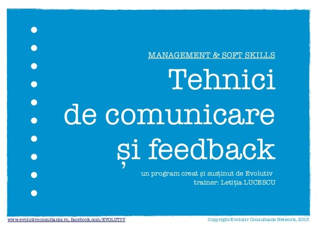 Tehnici de comunicare si feedback - Evolutiv