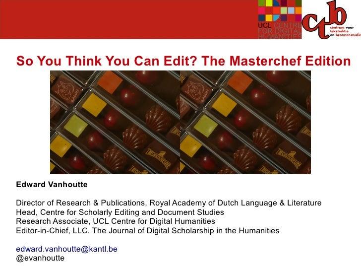 Edward Vanhoutte - Opening Keynote TEI2011 Conference