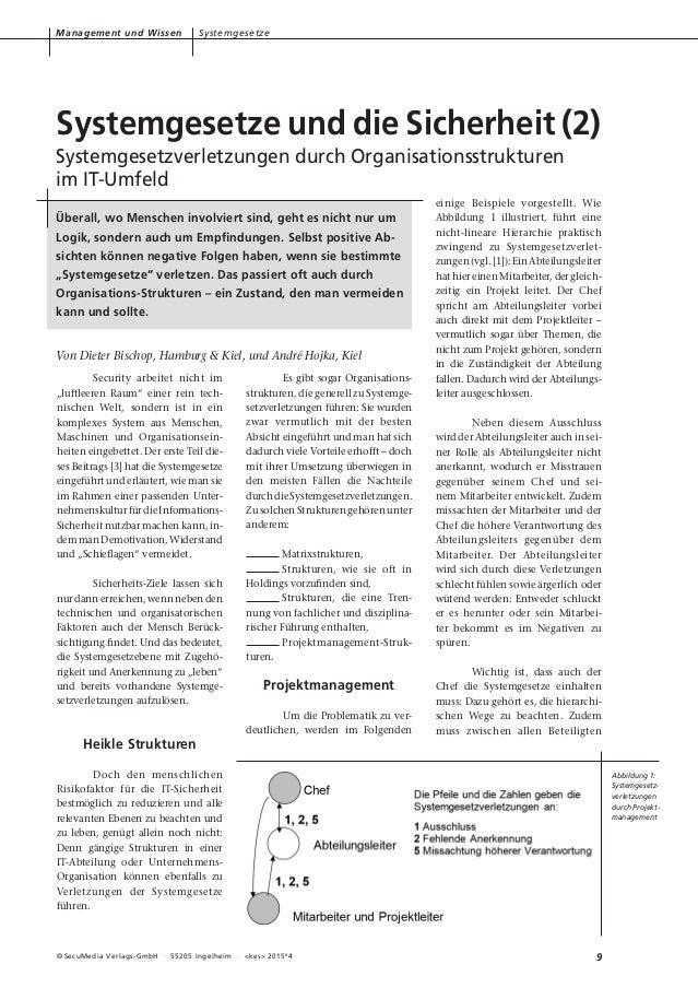 9© SecuMedia Verlags-GmbH · 55205 Ingelheim · <kes> 2015# 4 Management und Wissen Systemgesetze Security arbeitet nicht im...