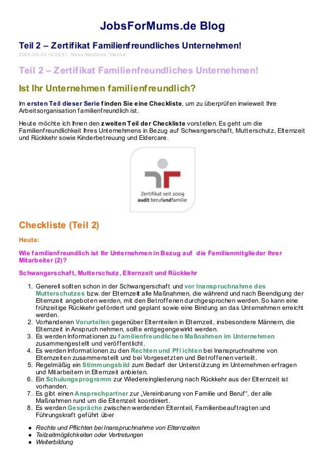 """JobsForMums.de Blog Teil 2 – Zertifikat Familienfreundliches Unternehmen! 2009-09-04 14:09:51 Nives Mestrovic """"Hanna"""" Teil..."""