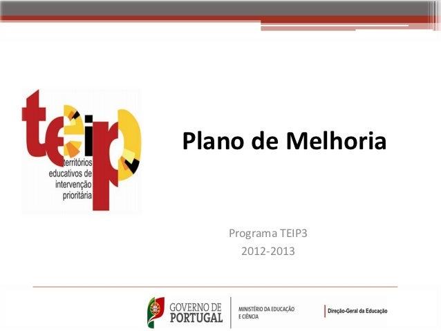 Plano de Melhoria   Programa TEIP3     2012-2013