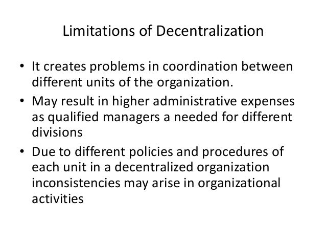 advantages and disadvantages of decentralization pdf