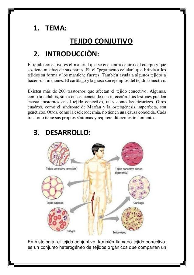 1. TEMA: TEJIDO CONJUTIVO 2. INTRODUCCIÒN: El tejido conectivo es el material que se encuentra dentro del cuerpo y que sos...