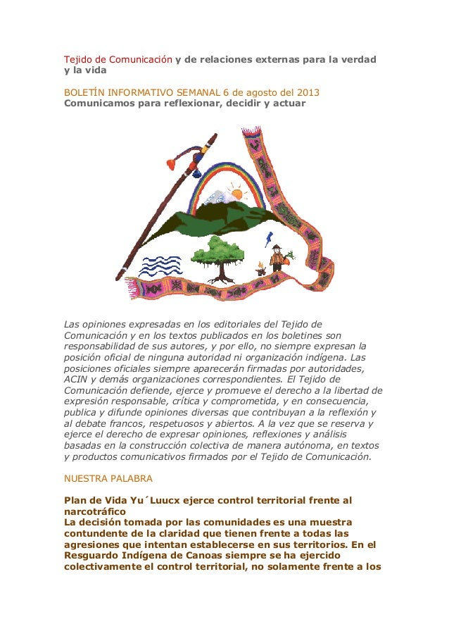Importantes noticias: Boletín del Tejido de comunicación ACIN 6 agosto 2013
