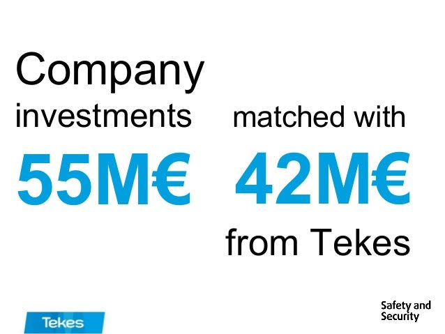 Company investments  matched with  55M€ 42M€ from Tekes