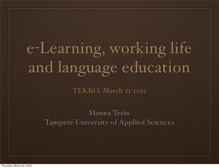 e-Learning, working life and language education