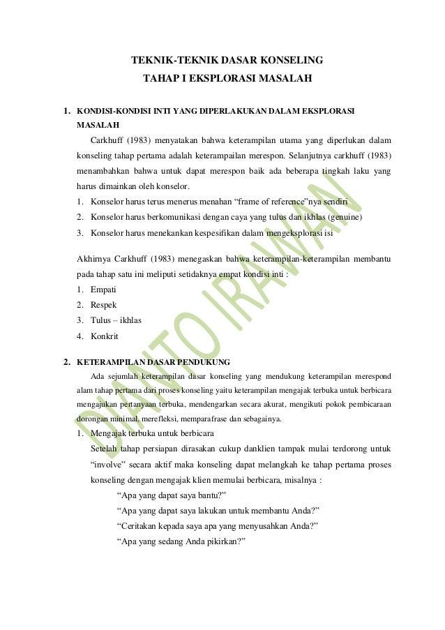 Teknik dasar konseling tahap 1 by dianto irawan