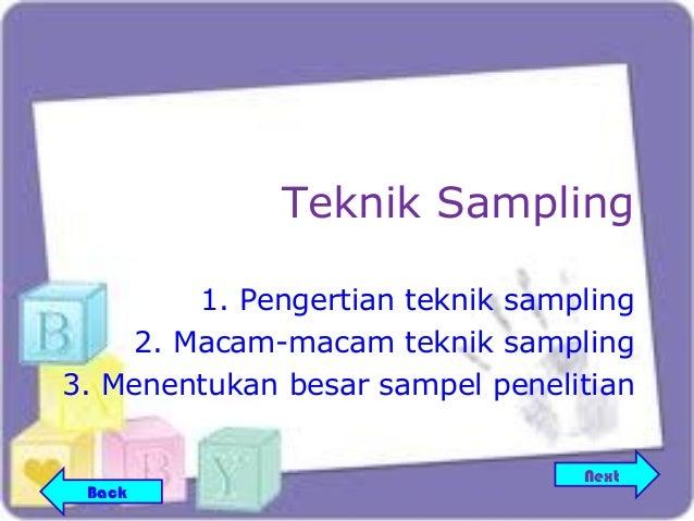 Teknik Sampling         1. Pengertian teknik sampling     2. Macam-macam teknik sampling3. Menentukan besar sampel penelit...
