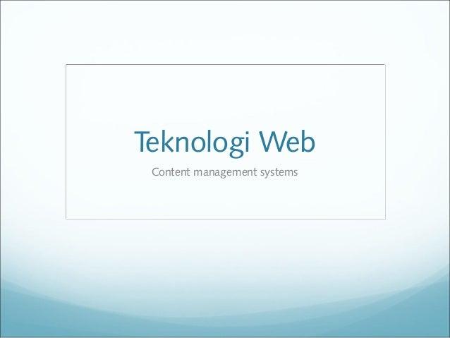 Teknologi Web Content management systems