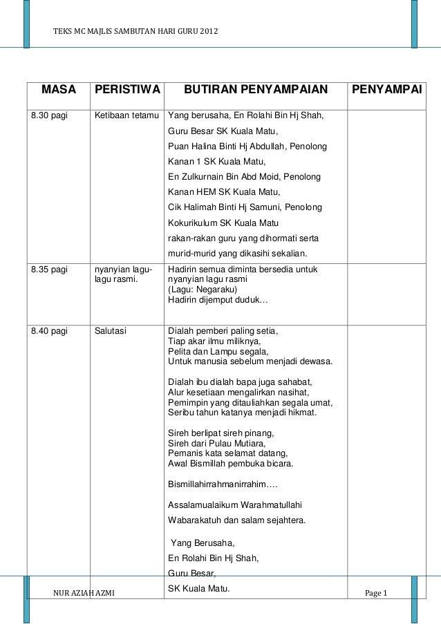 TEKS MC MAJLIS SAMBUTAN HARI GURU 2012  MASA        PERISTIWA            BUTIRAN PENYAMPAIAN                    PENYAMPAI8...
