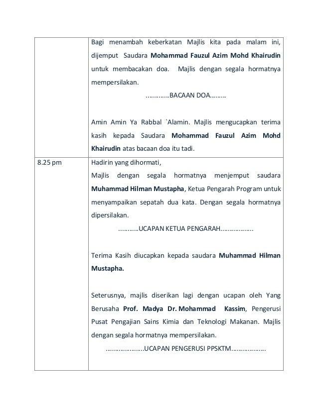 Teks Ucapan Pengerusi Majlis Bacaan Yasin Lucu Ora