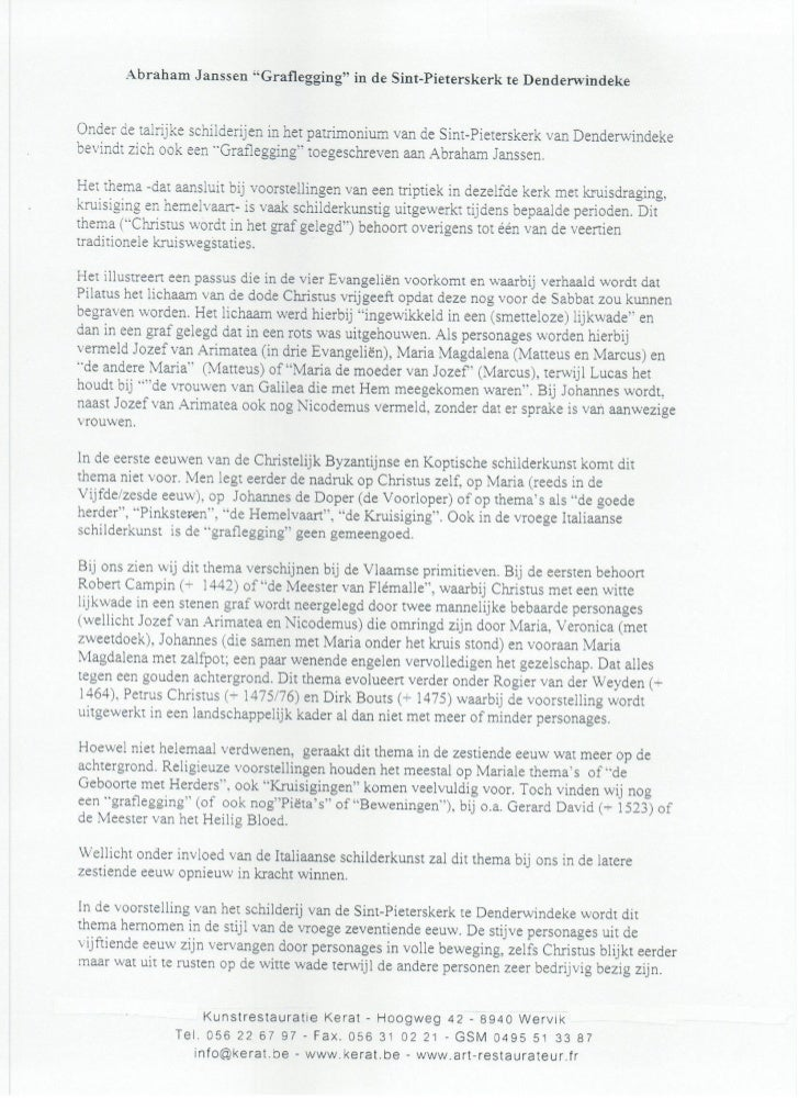 Tekst over schilderij de graflegging abraham jannsens denderwindeke