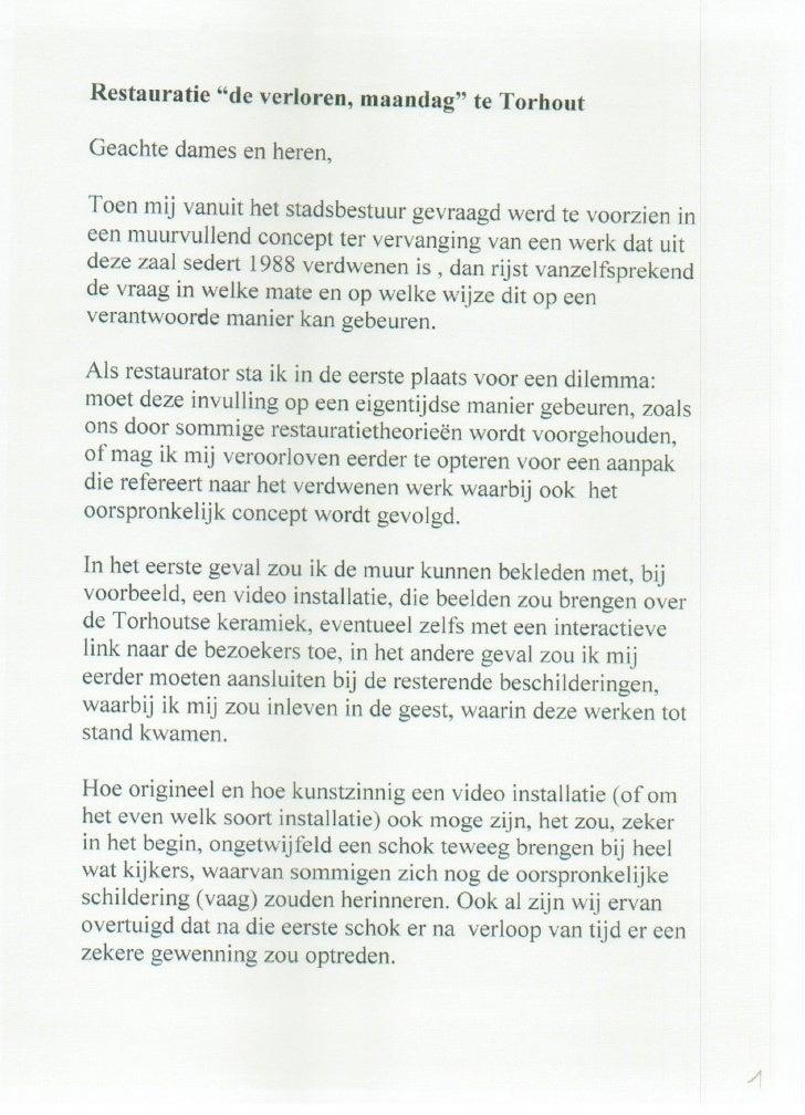 Tekst voor persvoorstelling in kasteel ravenhof van schilderij gestolen maandag