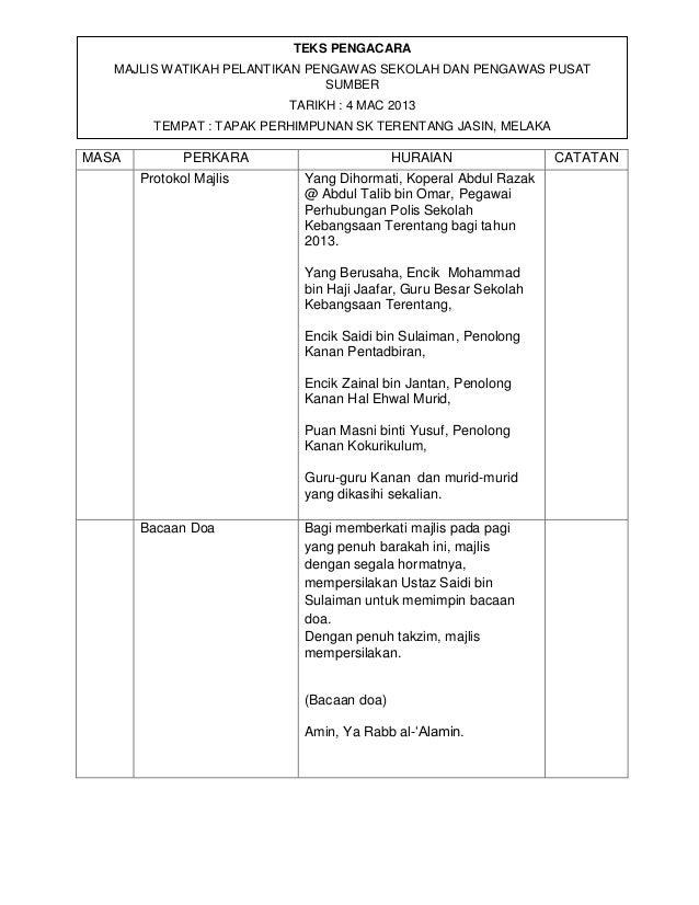 aa MASA PERKARA HURAIAN CATATAN Protokol Majlis Yang Dihormati, Koperal Abdul Razak @ Abdul Talib bin Omar, Pegawai Perhub...