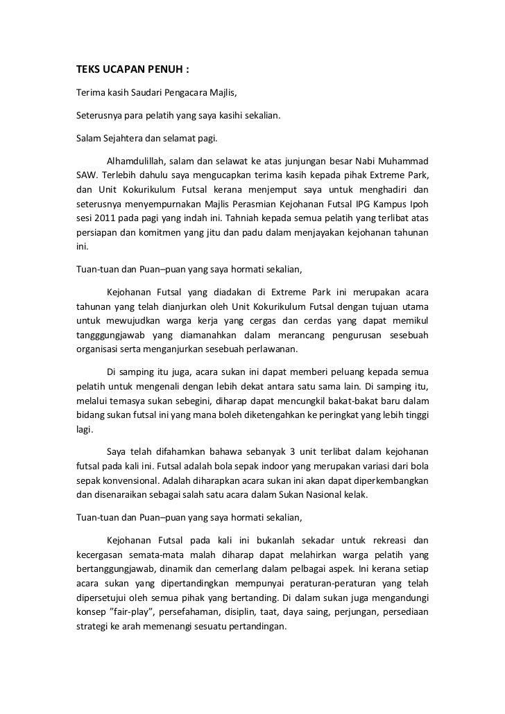 Teks Ucapan Perasmian Futsal 2011