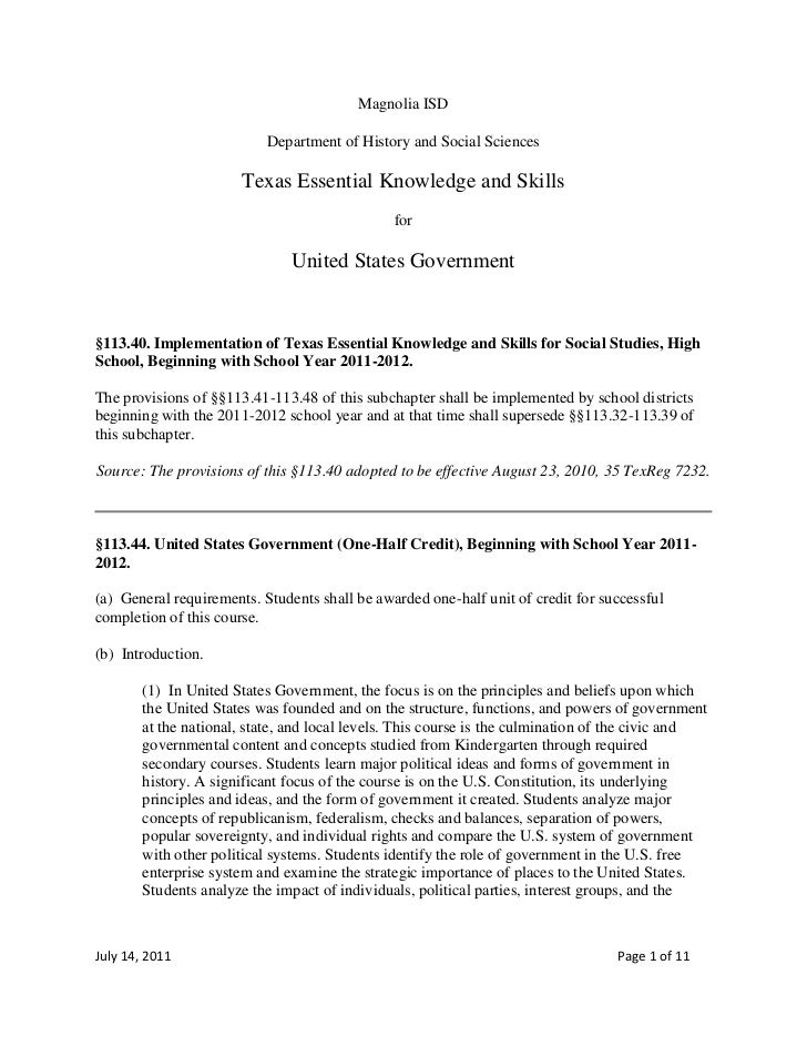 Magnolia ISD<br />Department of History and Social Sciences<br />Texas Essential Knowledge and Skills<br />for<br />United...