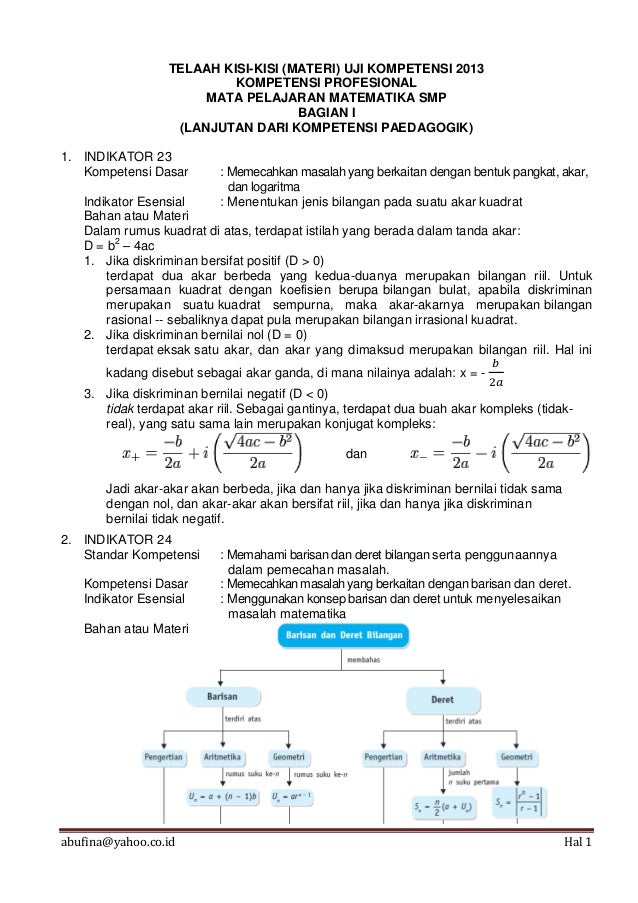 Telaah Kisi Kisi Materi Ukg Kompetensi Profesional Matematika Smp 2