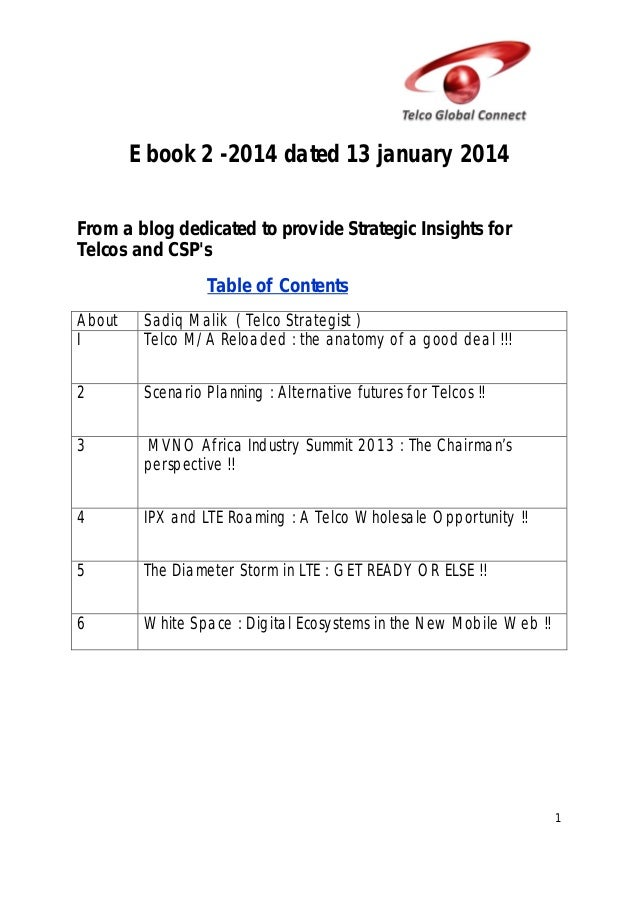 E book 2 -2014 dated 13 january 2014 From a blog dedicated to provide Strategic Insights for Telcos and CSP's Table of Con...