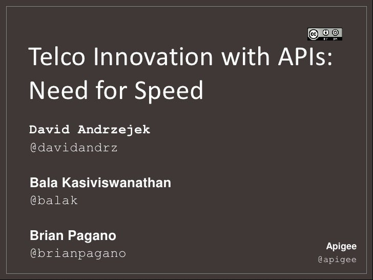 Telco Innovation with APIs:Need for SpeedDavid Andrzejek@davidandrzBala Kasiviswanathan@balakBrian Pagano                 ...