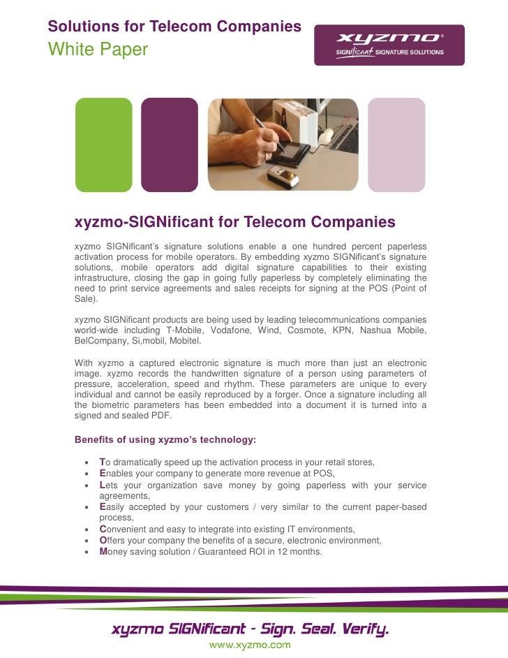 Solutions for Telecom Companies White Paper        xyzmo-SIGNificant for Telecom Companies    xyzmo SIGNificant's signatur...