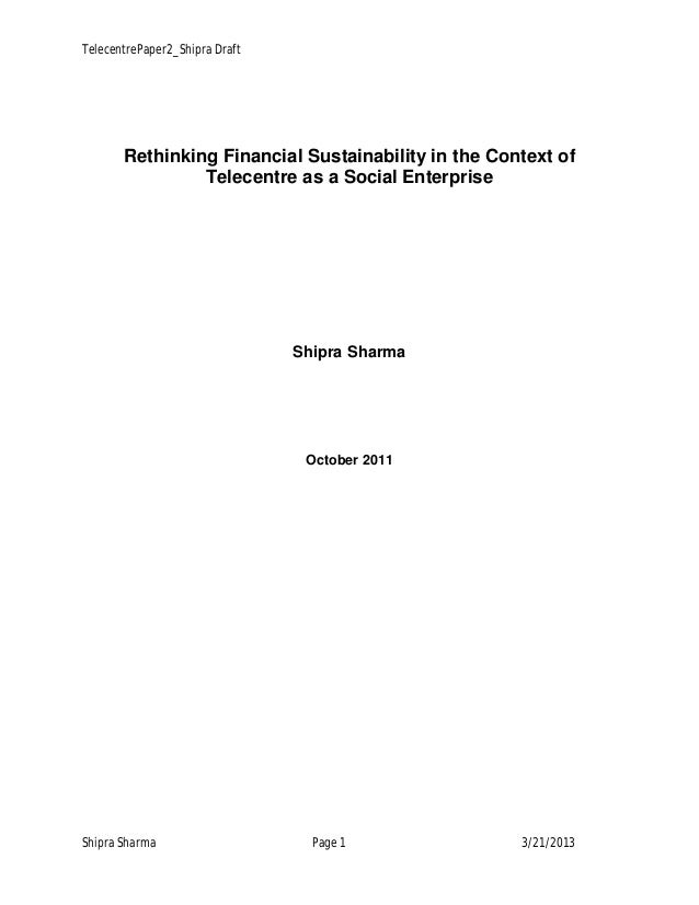 Rethinking Financial Sustainability in the Context of Telecentre as a Social Enterprise