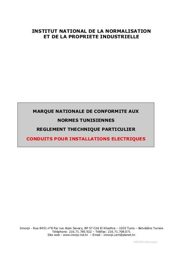 INSTITUT NATIONAL DE LA NORMALISATION            ET DE LA PROPRIETE INDUSTRIELLE         MARQUE NATIONALE DE CONFORMITE AU...