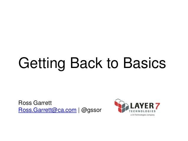 Getting Back to Basics Ross Garrett Ross.Garrett@ca.com | @gssor