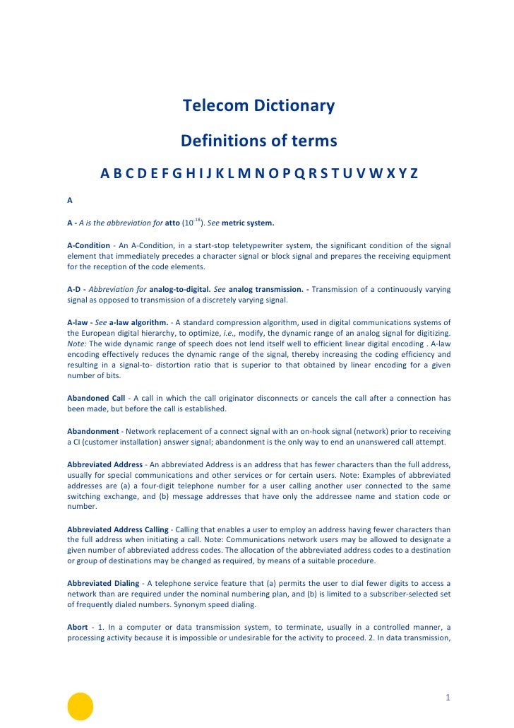 Telecom dictionary