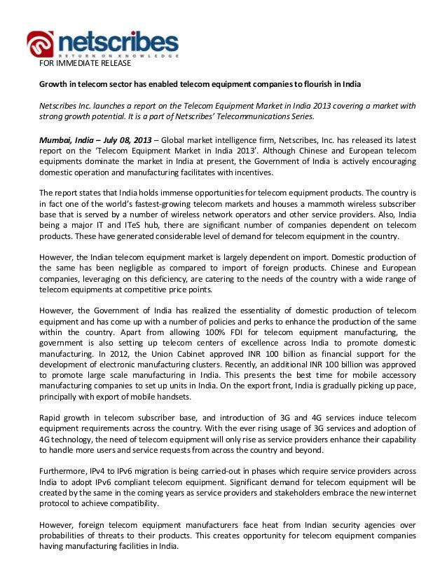 Market Research Report : Telecom equipment market in india 2013