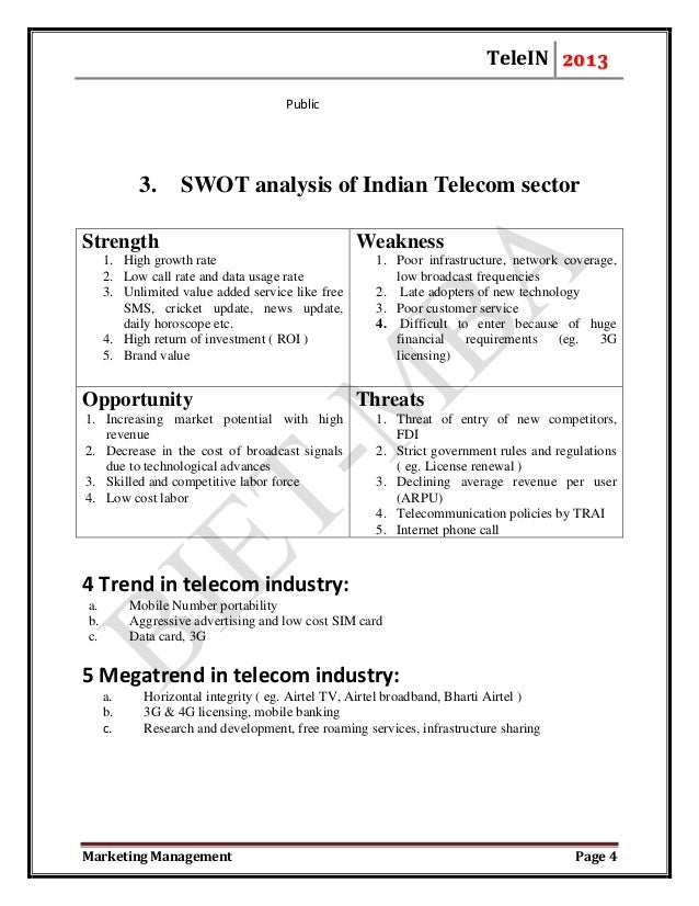 swot analysis report of indian telecom industry