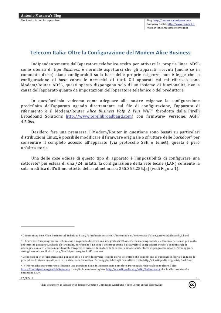Telecom Italia: Oltre la Configurazione del Modem Alice Business