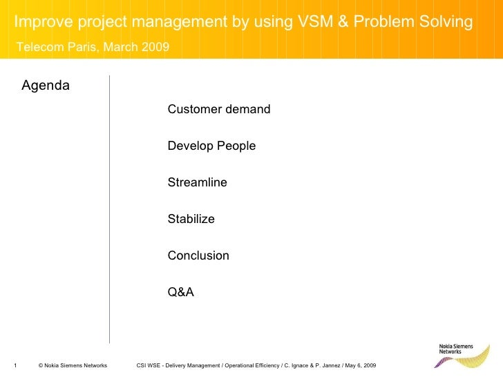 Improve project management by using VSM & Problem Solving CSI WSE - Delivery Management / Operational Efficiency / C. Igna...