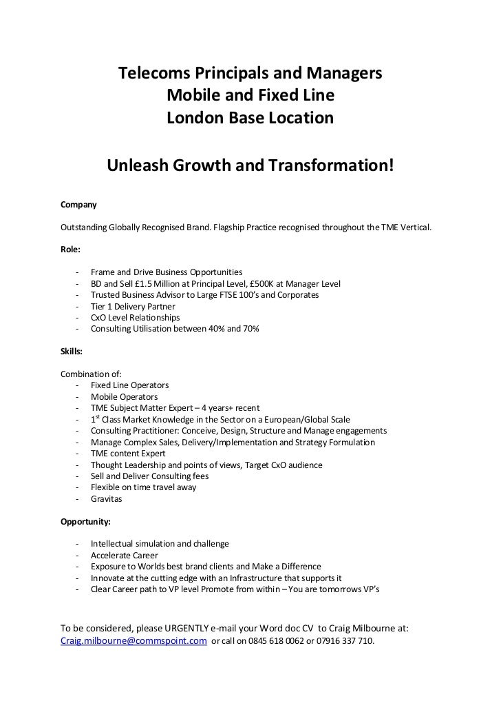 Telecoms Principals and Managers<br />Mobile and Fixed Line<br />London Base Location<br />Unleash Growth and Transformati...