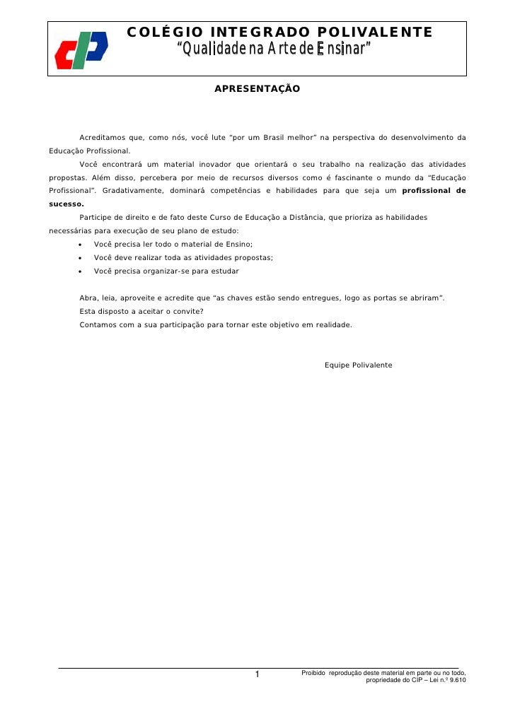 """COLÉGIO INTEGRADO POLIVALENTE                            Telecomunicações I                                  """"Qualidade na..."""