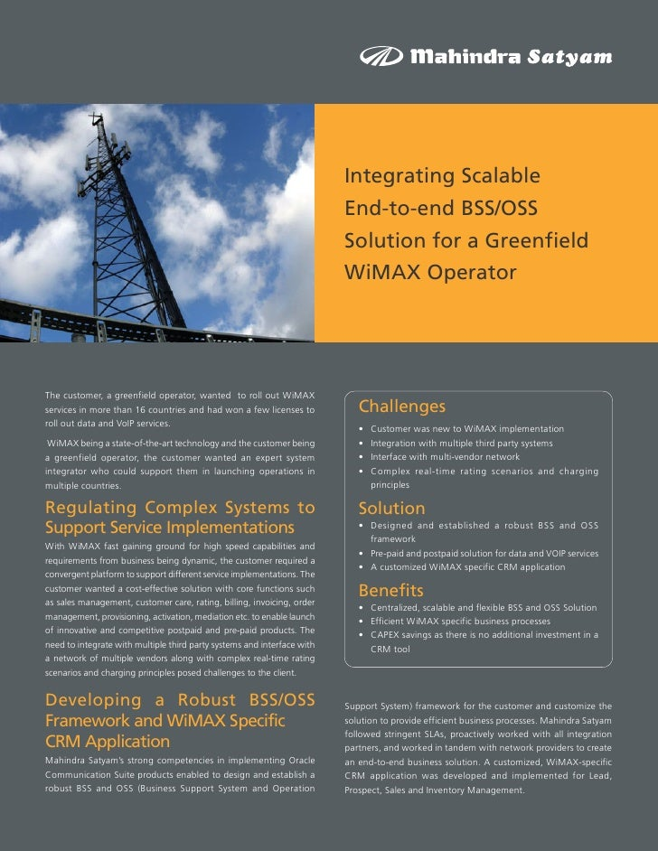Integrating Scalable End-to-end BSS/OSS Solution for a Greenfield WiMAX Operator